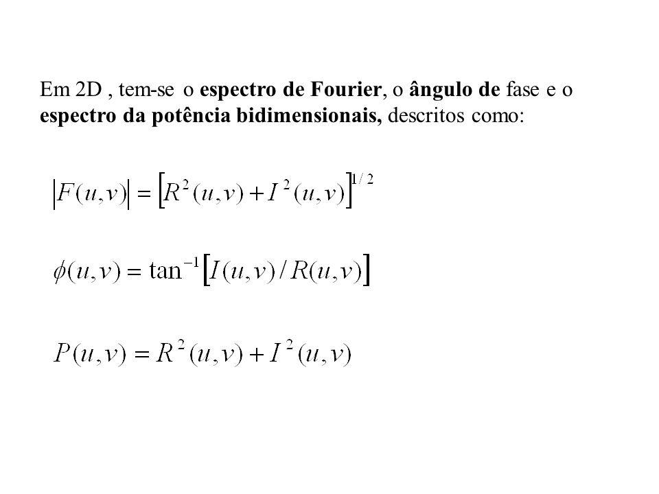 Em 2D, tem-se o espectro de Fourier, o ângulo de fase e o espectro da potência bidimensionais, descritos como: