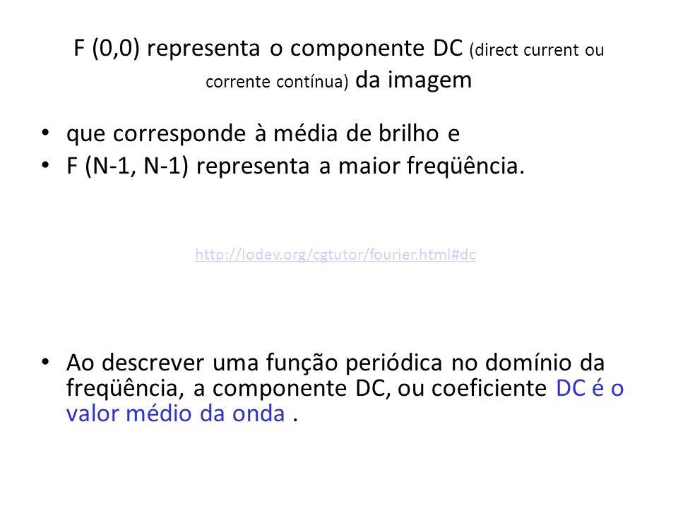 F (0,0) representa o componente DC (direct current ou corrente contínua) da imagem que corresponde à média de brilho e F (N-1, N-1) representa a maior