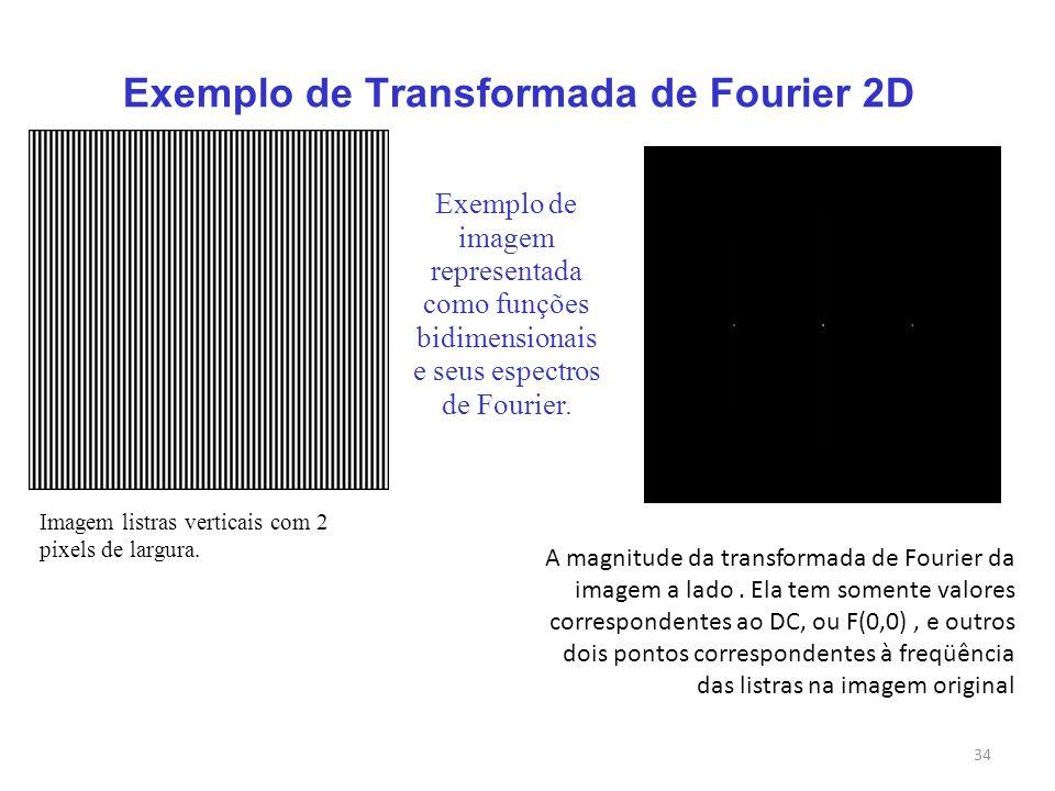 34 Exemplo de Transformada de Fourier 2D Exemplo de imagem representada como funções bidimensionais e seus espectros de Fourier. Imagem listras vertic