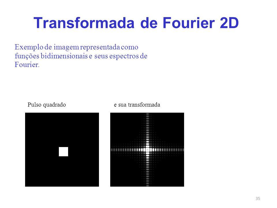 35 Transformada de Fourier 2D Exemplo de imagem representada como funções bidimensionais e seus espectros de Fourier. Pulso quadrado e sua transformad