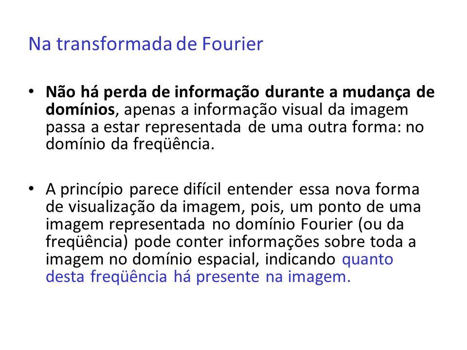 Na transformada de Fourier Não há perda de informação durante a mudança de domínios, apenas a informação visual da imagem passa a estar representada d