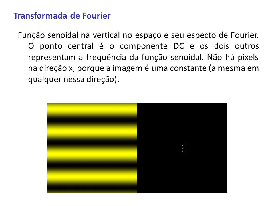 Transformada de Fourier Função senoidal na vertical no espaço e seu especto de Fourier. O ponto central é o componente DC e os dois outros representam
