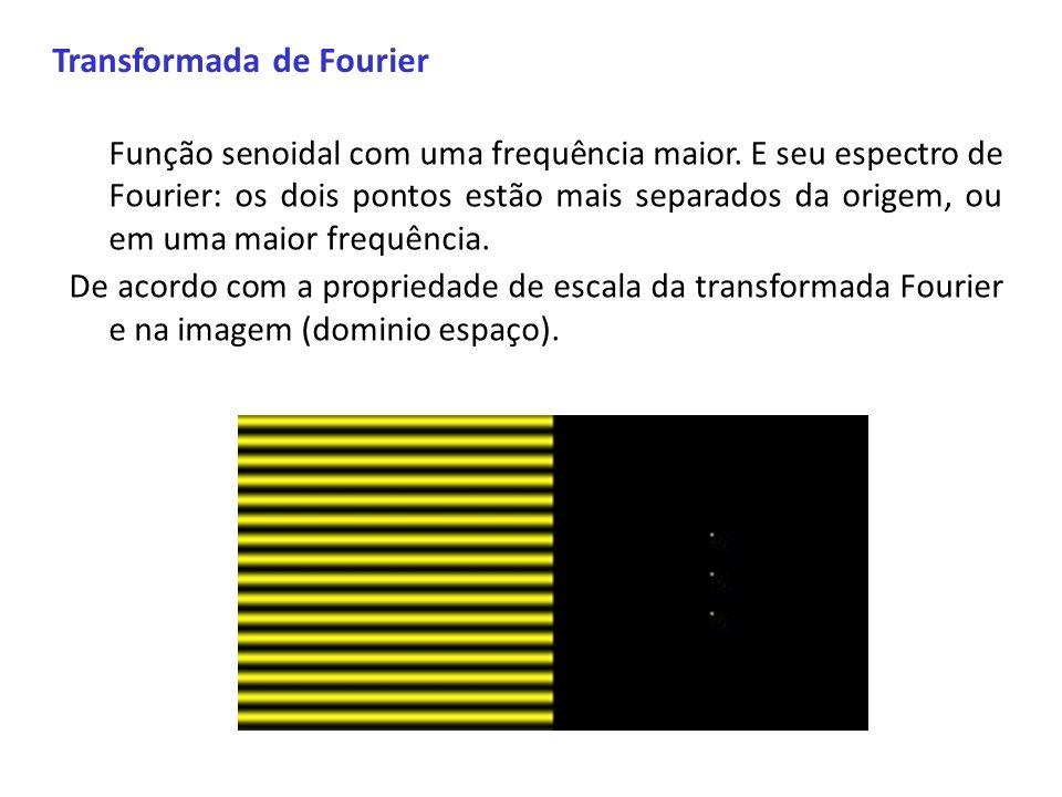 Transformada de Fourier Função senoidal com uma frequência maior. E seu espectro de Fourier: os dois pontos estão mais separados da origem, ou em uma