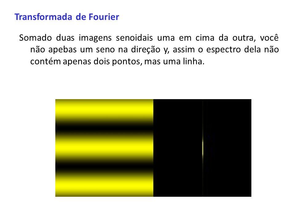 Transformada de Fourier Somado duas imagens senoidais uma em cima da outra, você não apebas um seno na direção y, assim o espectro dela não contém ape