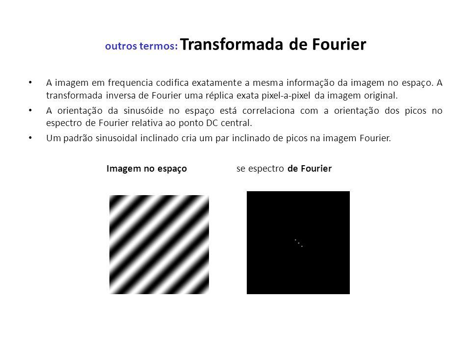 outros termos: Transformada de Fourier A imagem em frequencia codifica exatamente a mesma informação da imagem no espaço. A transformada inversa de Fo