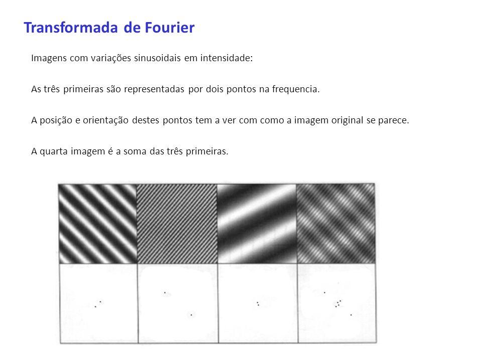 Transformada de Fourier Imagens com variações sinusoidais em intensidade: As três primeiras são representadas por dois pontos na frequencia. A posição