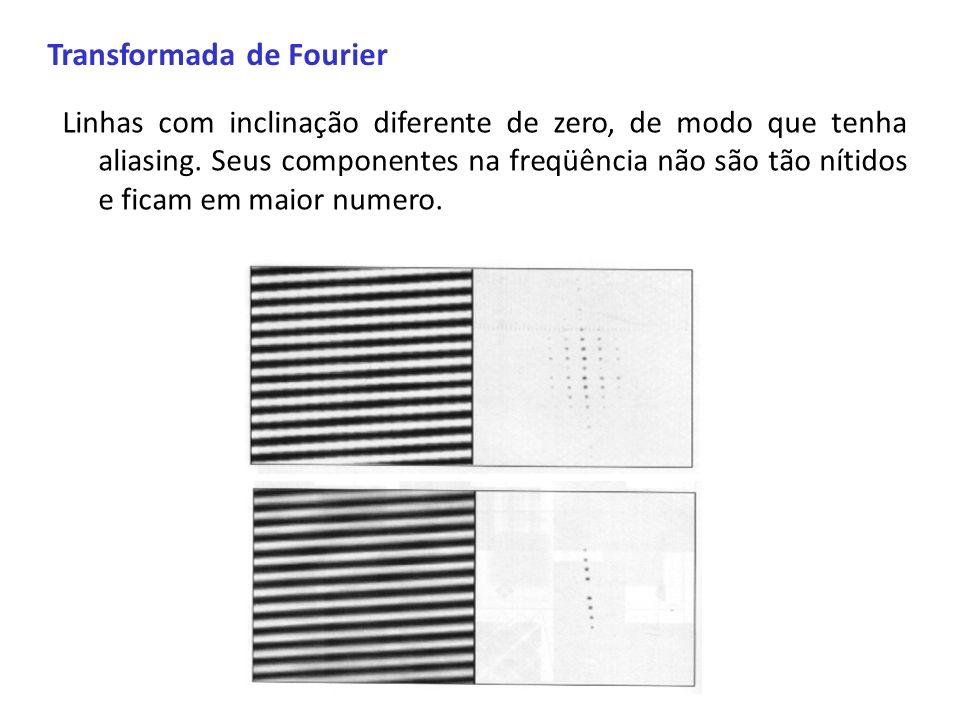 Transformada de Fourier Linhas com inclinação diferente de zero, de modo que tenha aliasing. Seus componentes na freqüência não são tão nítidos e fica