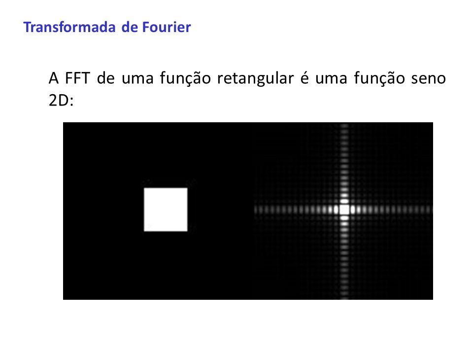 Transformada de Fourier A FFT de uma função retangular é uma função seno 2D: