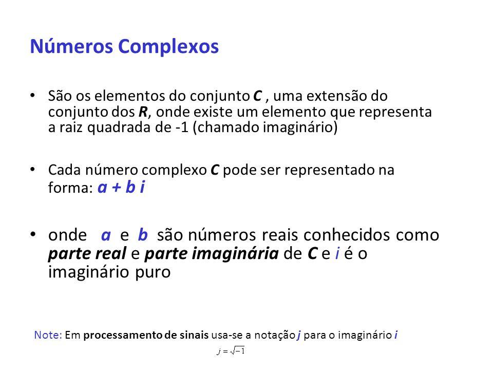 Números Complexos São os elementos do conjunto C, uma extensão do conjunto dos R, onde existe um elemento que representa a raiz quadrada de -1 (chamad