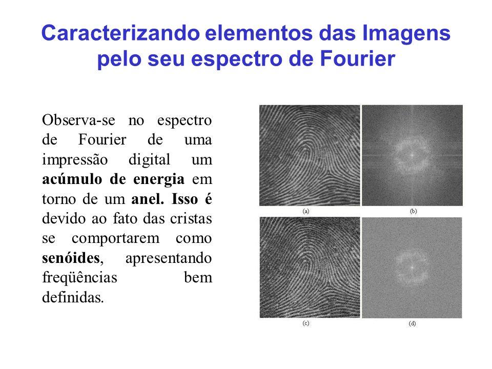 Caracterizando elementos das Imagens pelo seu espectro de Fourier Observa-se no espectro de Fourier de uma impressão digital um acúmulo de energia em