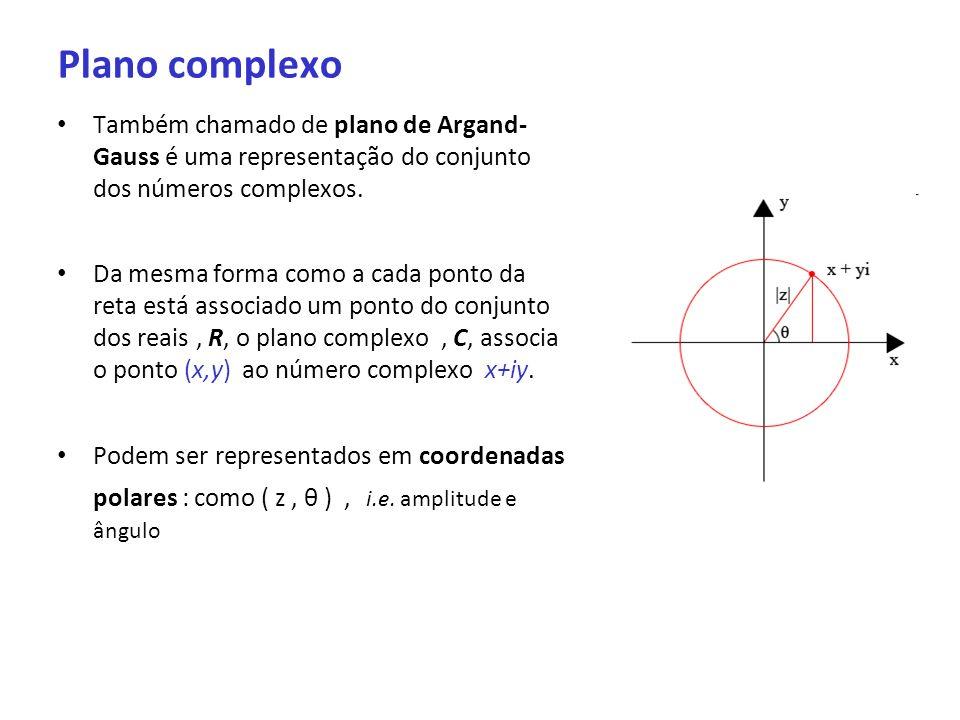 Plano complexo Também chamado de plano de Argand- Gauss é uma representação do conjunto dos números complexos. Da mesma forma como a cada ponto da ret