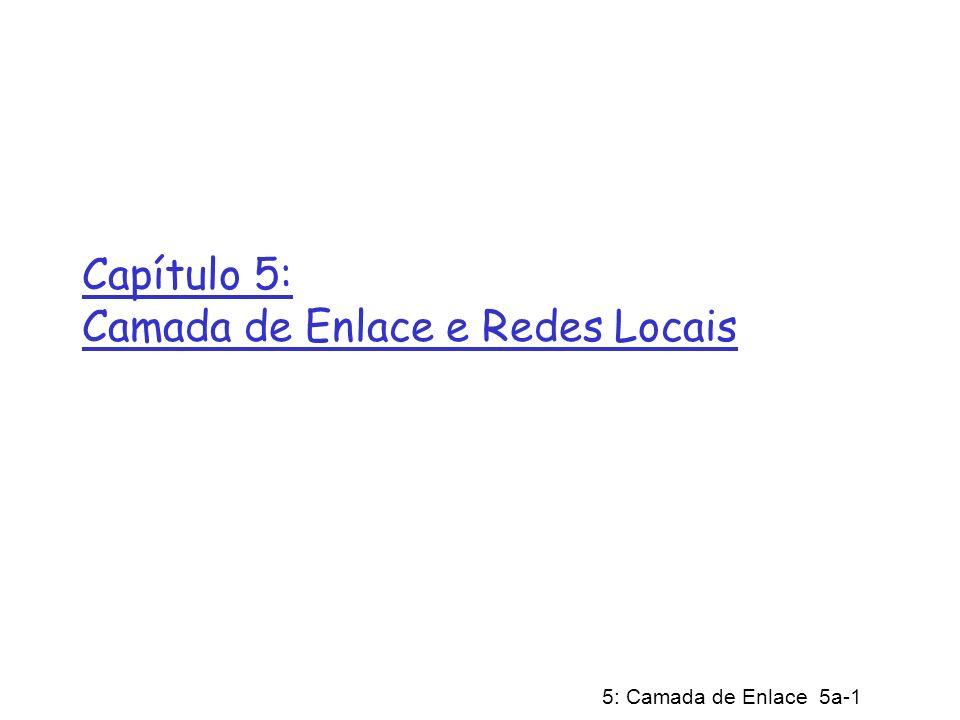 5: Camada de Enlace 5a-1 Capítulo 5: Camada de Enlace e Redes Locais