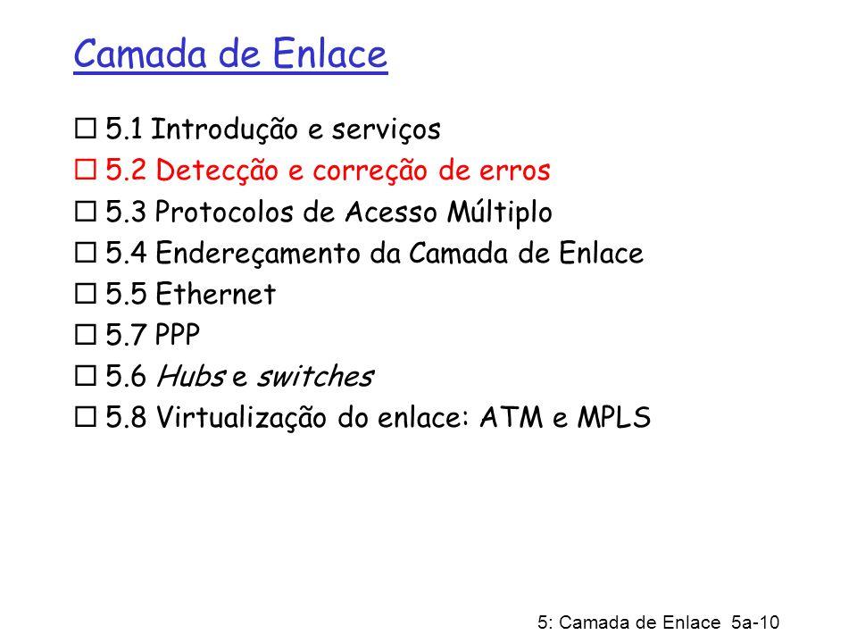 5: Camada de Enlace 5a-10 Camada de Enlace 5.1 Introdução e serviços 5.2 Detecção e correção de erros 5.3 Protocolos de Acesso Múltiplo 5.4 Endereçame