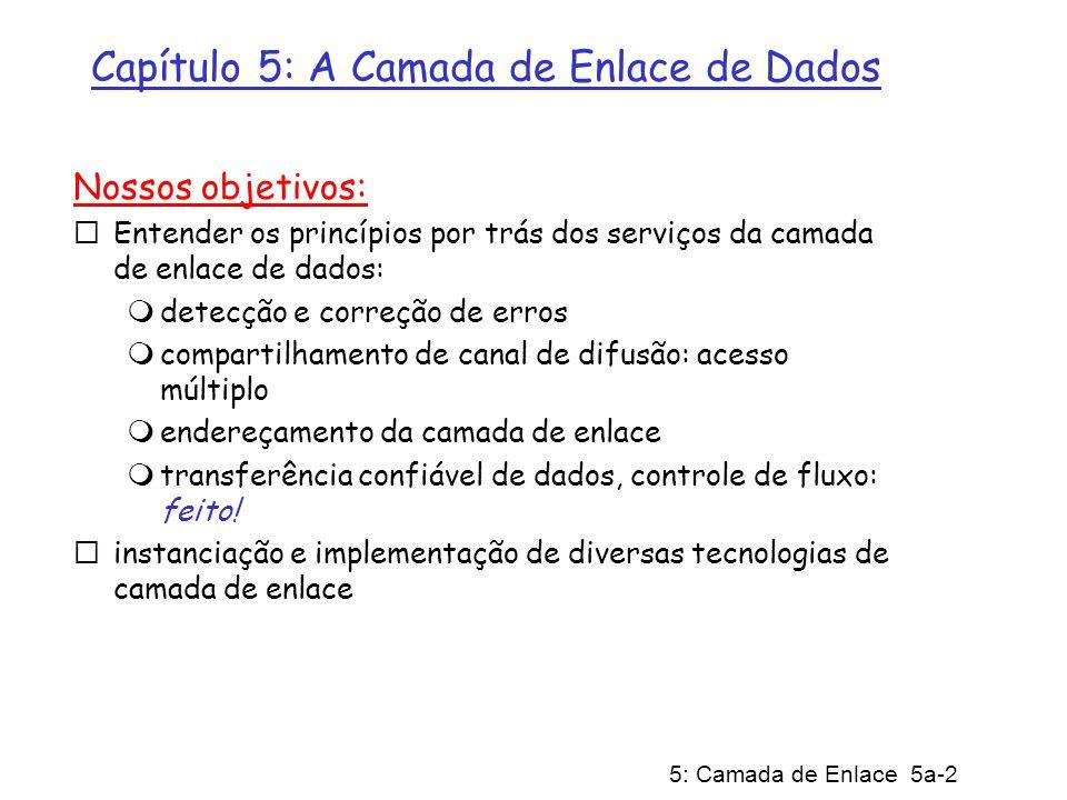5: Camada de Enlace 5a-3 Camada de Enlace 5.1 Introdução e serviços 5.2 Detecção e correção de erros 5.3 Protocolos de Acesso Múltiplo 5.4 Endereçamento da Camada de Enlace 5.5 Ethernet 5.7 PPP 5.6 Hubs e switches 5.8 Virtualização do enlace: ATM e MPLS