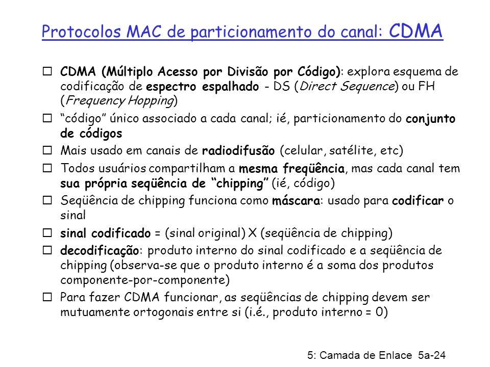 5: Camada de Enlace 5a-24 Protocolos MAC de particionamento do canal: CDMA CDMA (Múltiplo Acesso por Divisão por Código): explora esquema de codificaç