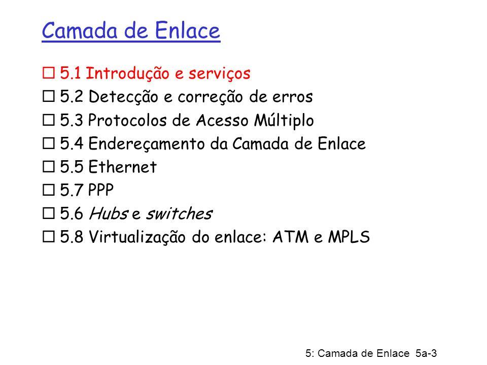 5: Camada de Enlace 5a-24 Protocolos MAC de particionamento do canal: CDMA CDMA (Múltiplo Acesso por Divisão por Código): explora esquema de codificação de espectro espalhado - DS (Direct Sequence) ou FH (Frequency Hopping) código único associado a cada canal; ié, particionamento do conjunto de códigos Mais usado em canais de radiodifusão (celular, satélite, etc) Todos usuários compartilham a mesma freqüência, mas cada canal tem sua própria seqüência de chipping (ié, código) Seqüência de chipping funciona como máscara: usado para codificar o sinal sinal codificado = (sinal original) X (seqüência de chipping) decodificação: produto interno do sinal codificado e a seqüência de chipping (observa-se que o produto interno é a soma dos produtos componente-por-componente) Para fazer CDMA funcionar, as seqüências de chipping devem ser mutuamente ortogonais entre si (i.é., produto interno = 0)