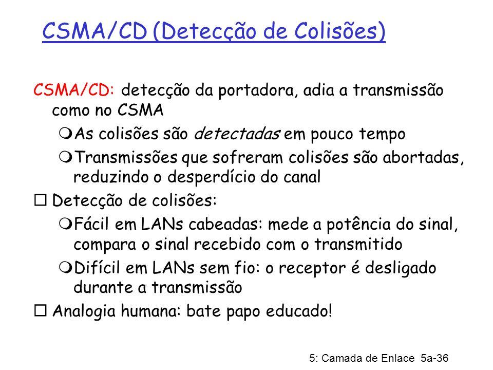 5: Camada de Enlace 5a-36 CSMA/CD (Detecção de Colisões) CSMA/CD: detecção da portadora, adia a transmissão como no CSMA As colisões são detectadas em