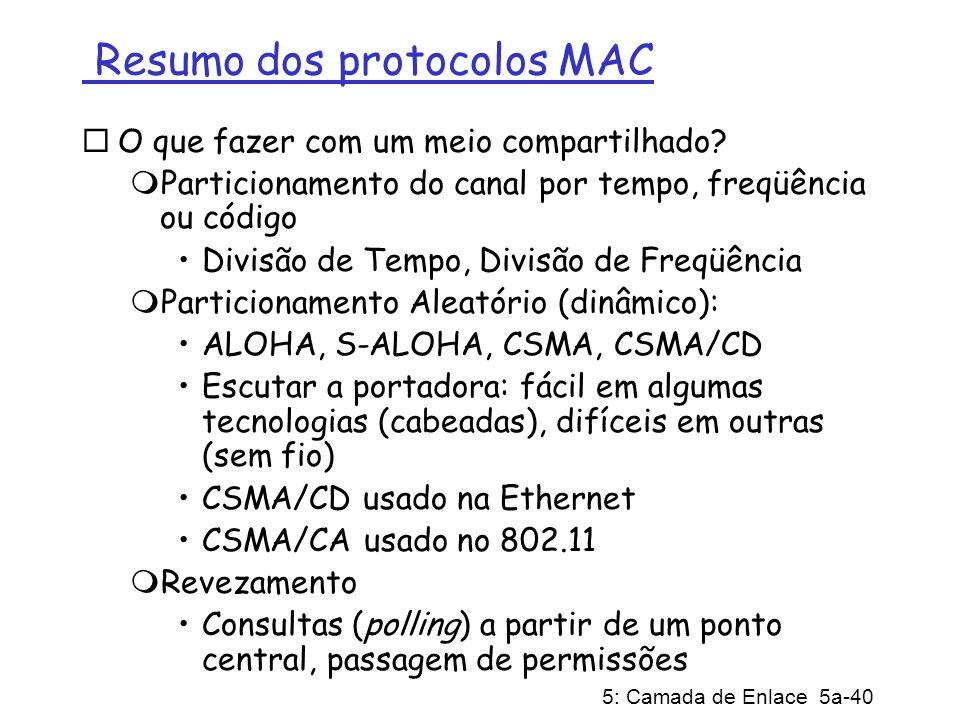 5: Camada de Enlace 5a-40 Resumo dos protocolos MAC O que fazer com um meio compartilhado? Particionamento do canal por tempo, freqüência ou código Di