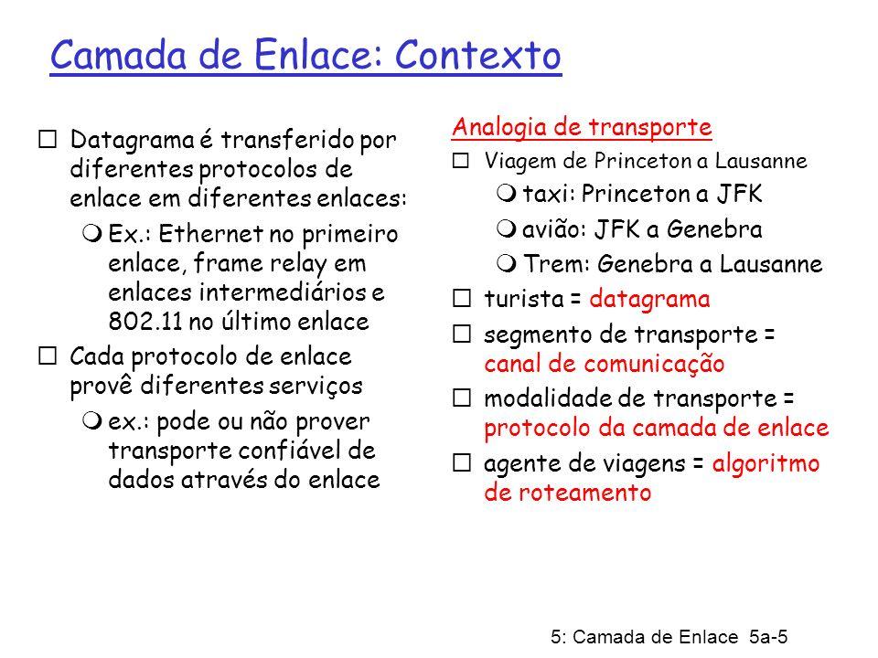 5: Camada de Enlace 5a-5 Camada de Enlace: Contexto Datagrama é transferido por diferentes protocolos de enlace em diferentes enlaces: Ex.: Ethernet n