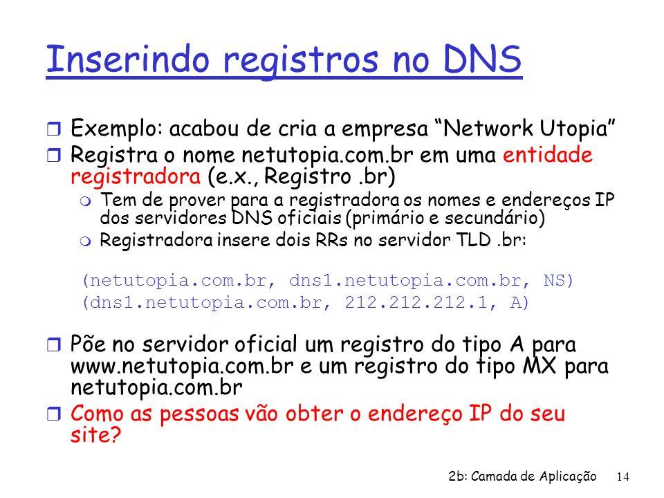 2b: Camada de Aplicação14 Inserindo registros no DNS r Exemplo: acabou de cria a empresa Network Utopia r Registra o nome netutopia.com.br em uma enti