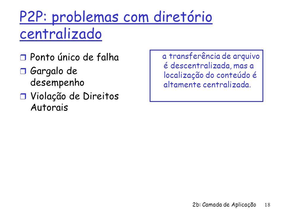 2b: Camada de Aplicação18 P2P: problemas com diretório centralizado r Ponto único de falha r Gargalo de desempenho r Violação de Direitos Autorais a t