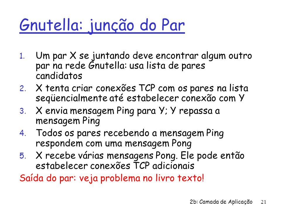 2b: Camada de Aplicação21 Gnutella: junção do Par 1. Um par X se juntando deve encontrar algum outro par na rede Gnutella: usa lista de pares candidat