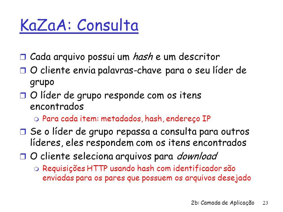 2b: Camada de Aplicação23 KaZaA: Consulta r Cada arquivo possui um hash e um descritor r O cliente envia palavras-chave para o seu líder de grupo r O