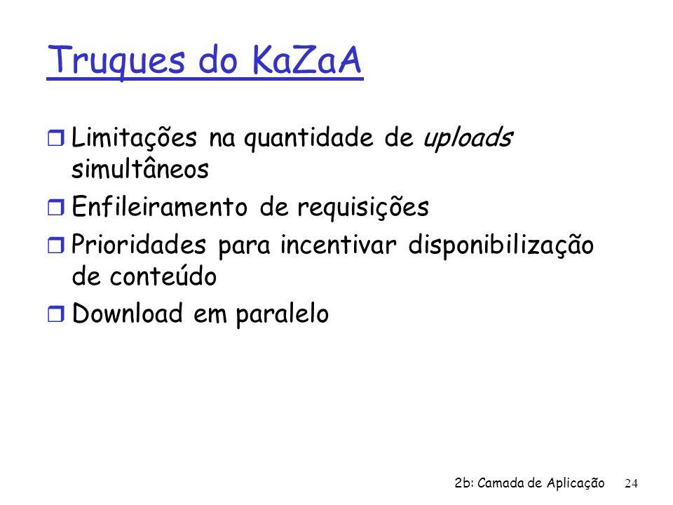 2b: Camada de Aplicação24 Truques do KaZaA r Limitações na quantidade de uploads simultâneos r Enfileiramento de requisições r Prioridades para incent