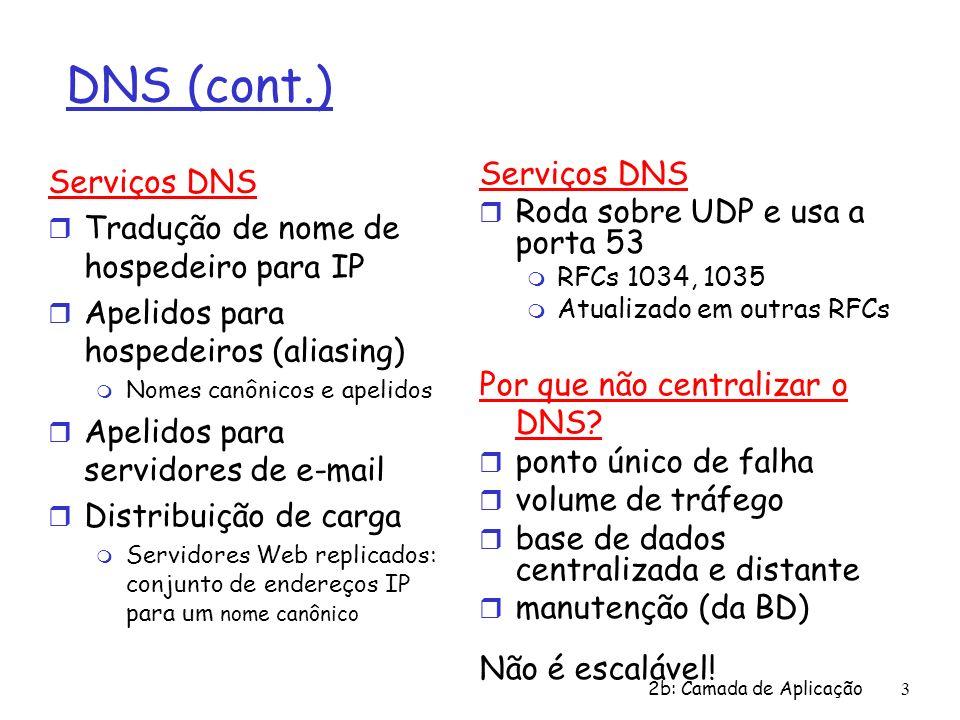 2b: Camada de Aplicação3 DNS (cont.) Serviços DNS r Tradução de nome de hospedeiro para IP r Apelidos para hospedeiros (aliasing) m Nomes canônicos e