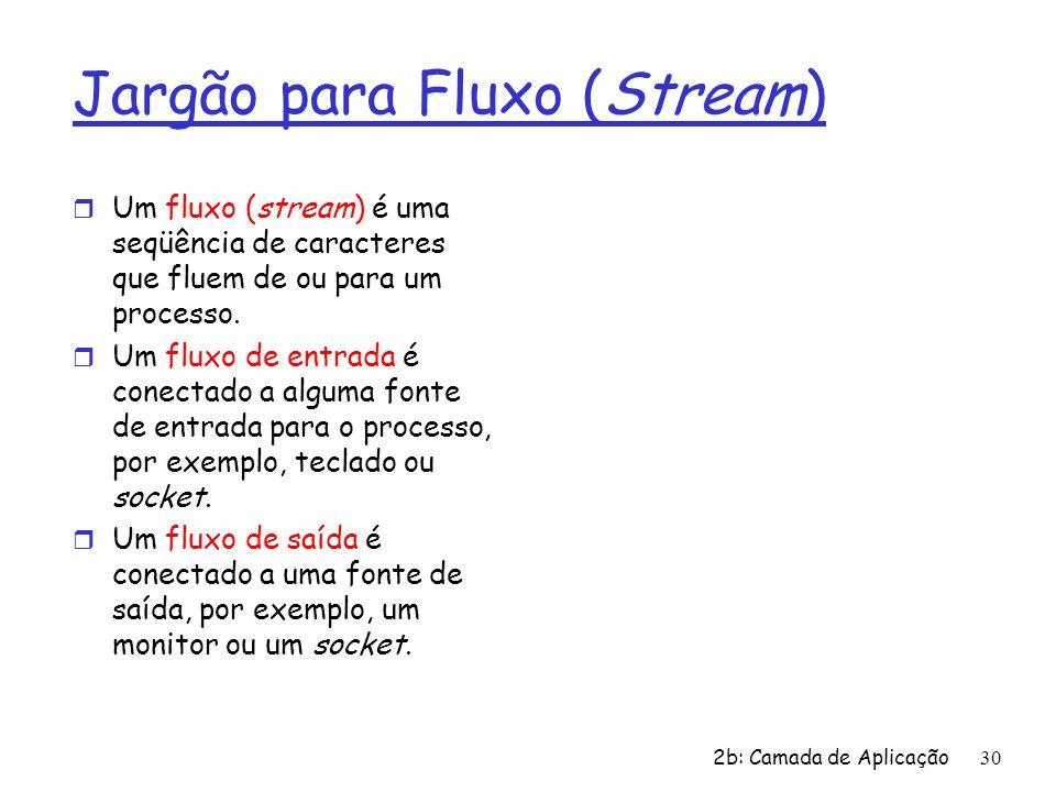 2b: Camada de Aplicação30 Jargão para Fluxo (Stream) r Um fluxo (stream) é uma seqüência de caracteres que fluem de ou para um processo. r Um fluxo de