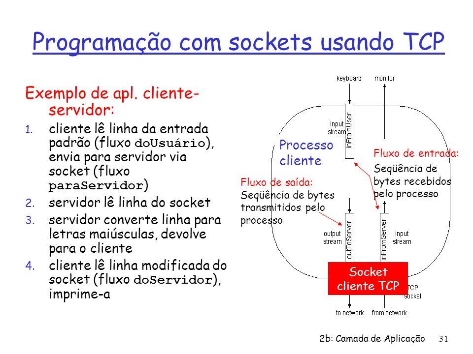 2b: Camada de Aplicação31 Programação com sockets usando TCP Exemplo de apl. cliente- servidor: 1. cliente lê linha da entrada padrão (fluxo doUsuário
