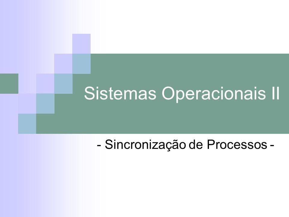 Sistemas Operacionais II - Sincronização de Processos -