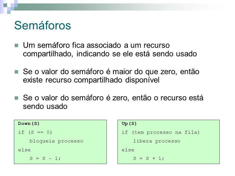 Semáforos Um semáforo fica associado a um recurso compartilhado, indicando se ele está sendo usado Se o valor do semáforo é maior do que zero, então existe recurso compartilhado disponível Se o valor do semáforo é zero, então o recurso está sendo usado Down(S) if (S == 0) bloqueia processo else S = S - 1; Up(S) if (tem processo na fila) libera processo else S = S + 1;