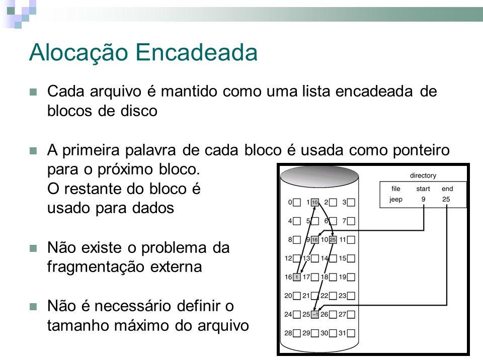Alocação Encadeada Cada arquivo é mantido como uma lista encadeada de blocos de disco A primeira palavra de cada bloco é usada como ponteiro para o próximo bloco.