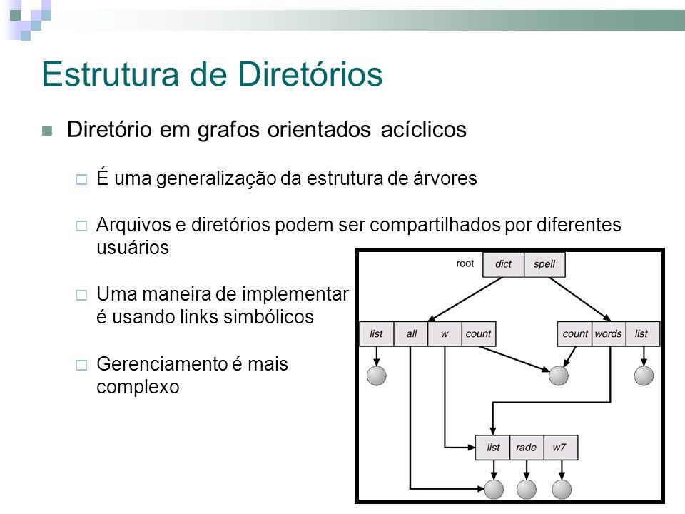 Estrutura de Diretórios Diretório em grafos orientados acíclicos É uma generalização da estrutura de árvores Arquivos e diretórios podem ser compartilhados por diferentes usuários Uma maneira de implementar é usando links simbólicos Gerenciamento é mais complexo