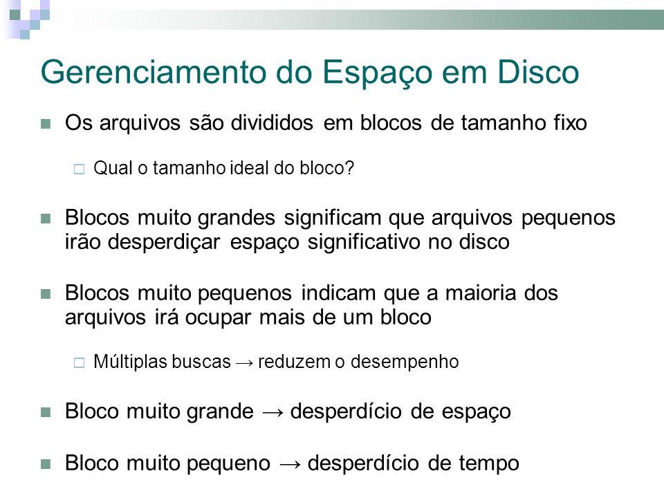 Gerenciamento do Espaço em Disco Os arquivos são divididos em blocos de tamanho fixo Qual o tamanho ideal do bloco.