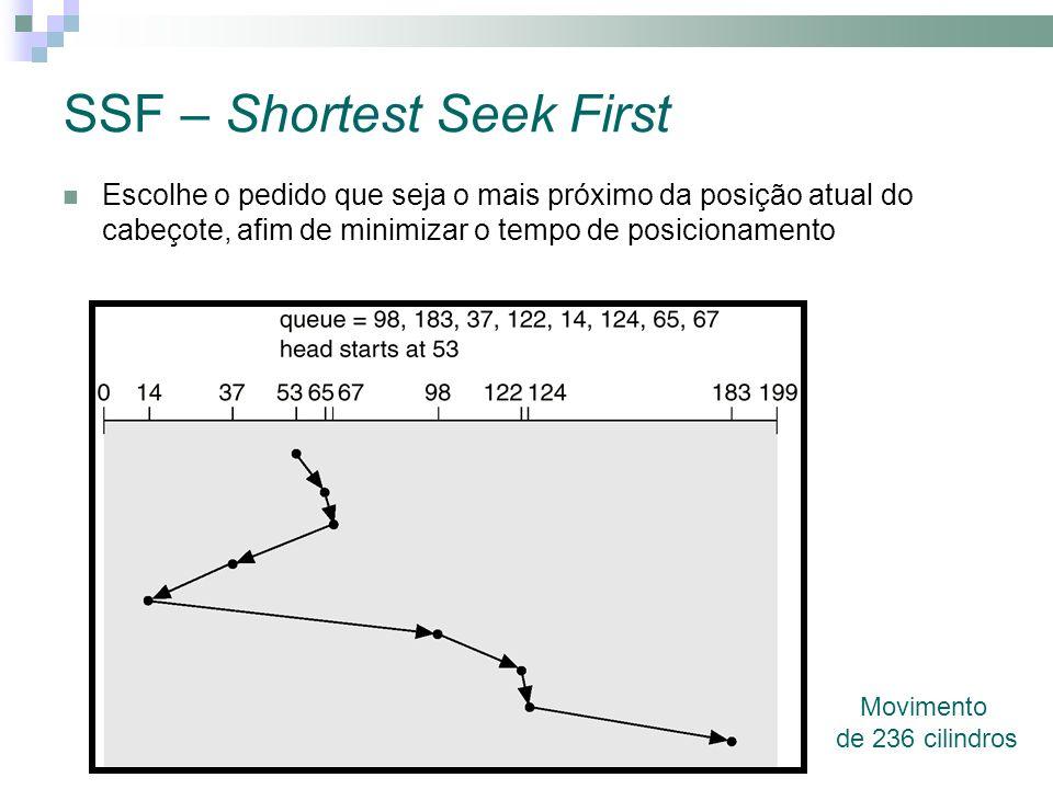SSF – Shortest Seek First Movimento de 236 cilindros Escolhe o pedido que seja o mais próximo da posição atual do cabeçote, afim de minimizar o tempo de posicionamento