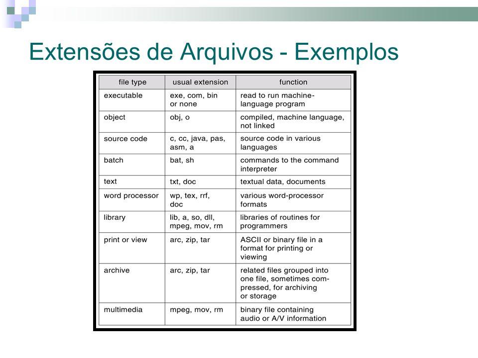 Extensões de Arquivos - Exemplos