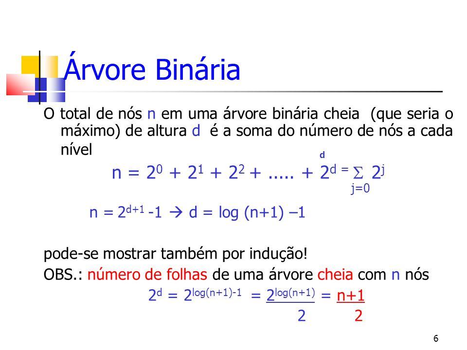7 Árvore Binária Cheia Árvore Binária Cheia de altura 3 2 3+1 -1 = 15 nós
