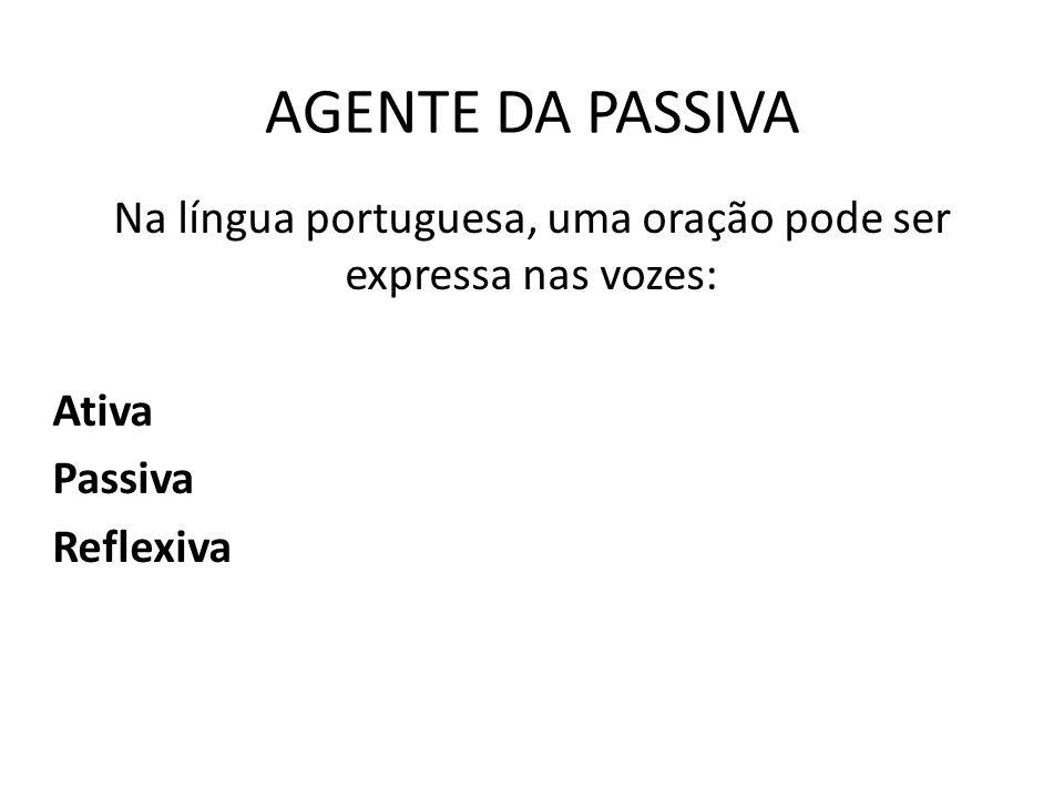 AGENTE DA PASSIVA Na língua portuguesa, uma oração pode ser expressa nas vozes: Ativa Passiva Reflexiva