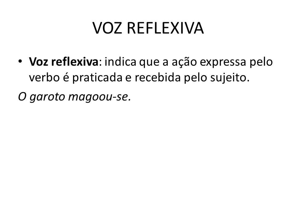 VOZ REFLEXIVA Voz reflexiva: indica que a ação expressa pelo verbo é praticada e recebida pelo sujeito. O garoto magoou-se.