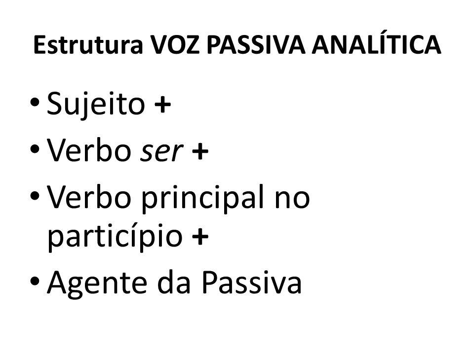 Estrutura VOZ PASSIVA ANALÍTICA Sujeito + Verbo ser + Verbo principal no particípio + Agente da Passiva
