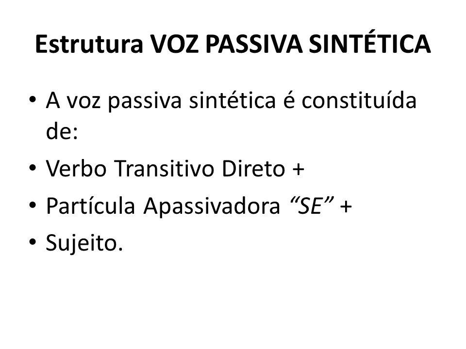 Estrutura VOZ PASSIVA SINTÉTICA A voz passiva sintética é constituída de: Verbo Transitivo Direto + Partícula Apassivadora SE + Sujeito.