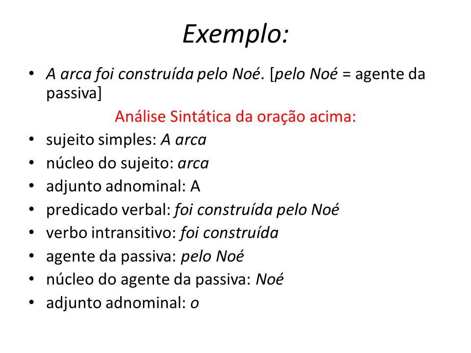 Exemplo: A arca foi construída pelo Noé. [pelo Noé = agente da passiva] Análise Sintática da oração acima: sujeito simples: A arca núcleo do sujeito: