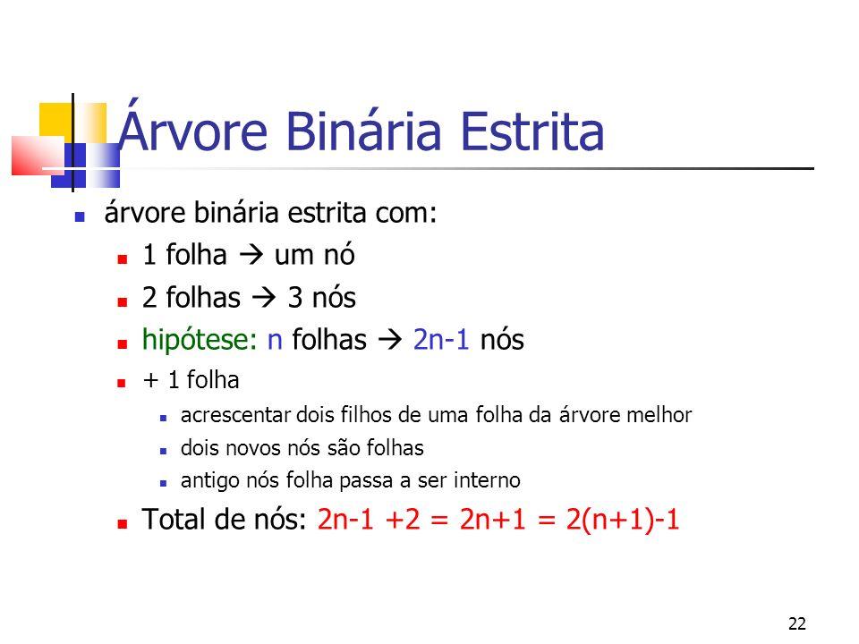 22 Árvore Binária Estrita árvore binária estrita com: 1 folha um nó 2 folhas 3 nós hipótese: n folhas 2n-1 nós + 1 folha acrescentar dois filhos de um