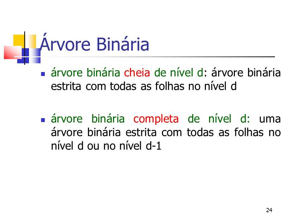 24 Árvore Binária árvore binária cheia de nível d: árvore binária estrita com todas as folhas no nível d árvore binária completa de nível d: uma árvor