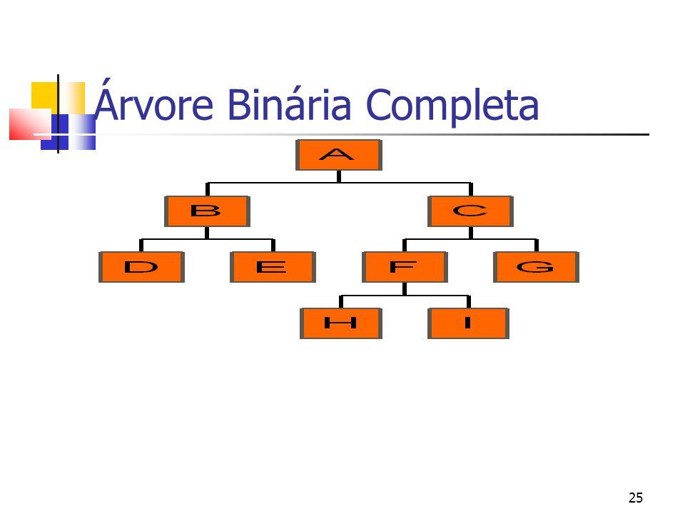 25 Árvore Binária Completa