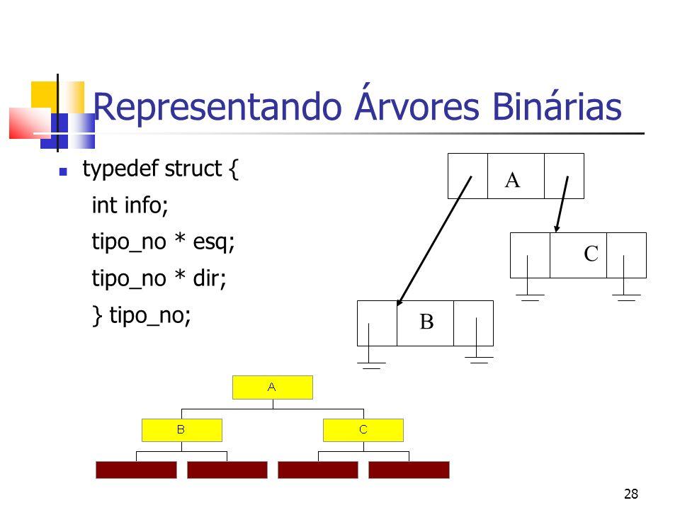 28 Representando Árvores Binárias typedef struct { int info; tipo_no * esq; tipo_no * dir; } tipo_no; A B C
