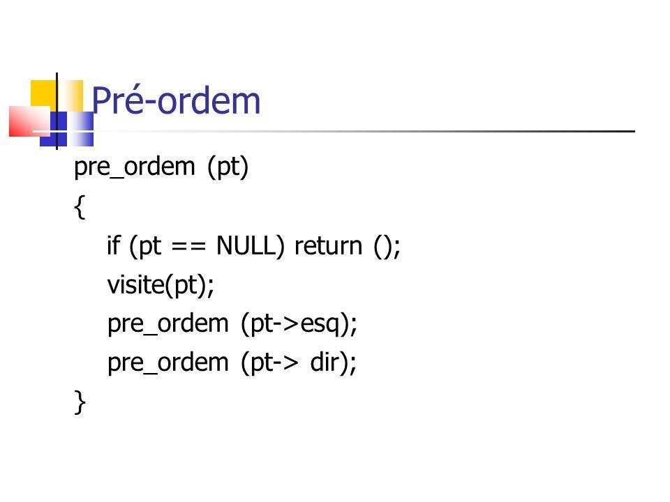 Pré-ordem pre_ordem (pt) { if (pt == NULL) return (); visite(pt); pre_ordem (pt->esq); pre_ordem (pt-> dir); }