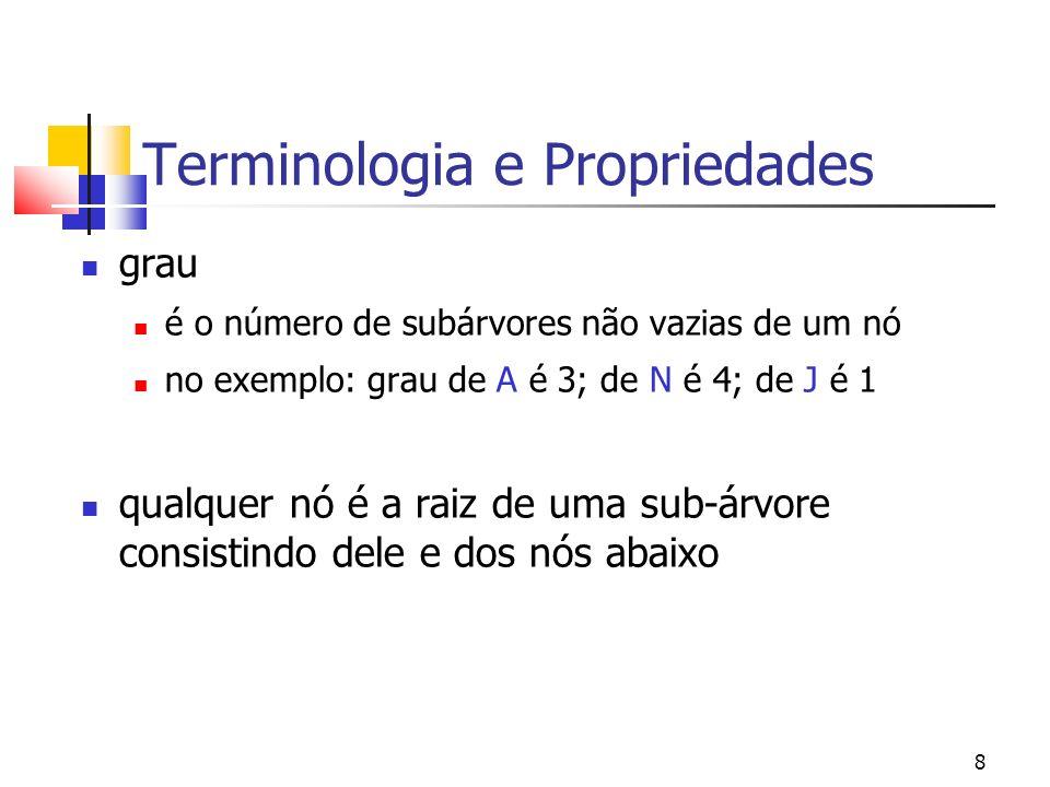8 Terminologia e Propriedades grau é o número de subárvores não vazias de um nó no exemplo: grau de A é 3; de N é 4; de J é 1 qualquer nó é a raiz de